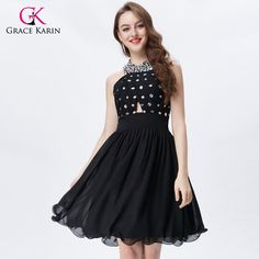 This item is HOT! Grace Karin Short... click 2 order  http://i-saledresses.myshopify.com/products/grace-karin-short-prom-dresses-for-teens-halter-chiffon-backless-knee-length-formal-party-gowns-black-special-occasion-dresses?utm_campaign=social_autopilot&utm_source=pin&utm_medium=pin   We Ship Internationally!