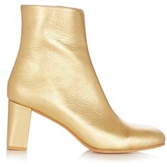 Maryam Nassir Zadeh Agnes metallic leather ankle boots (22.035 RUB) ❤ liked on Polyvore featuring shoes, boots, ankle booties, gold, square-toe boots, block heel bootie, leather ankle bootie, genuine leather boots and metallic boots