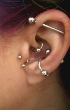 industrial, daith, double conch, tragus.