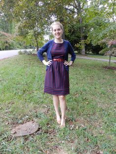 two little bells - chronicling the daily outfits and diy adventures of two twentysomethings Daily Outfit, Dress With Cardigan, Navy Stripes, Work Clothes, Striped Dress, Cute Outfits, Belt, Vintage, Ideas