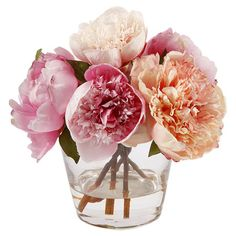 Handcrafted faux peony arrangement in a glass vase. Product: Faux floral arrangementConstruction Material: Polyes...