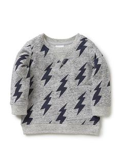 100% cotton french terry sweat with all over lightning bolt print and contrast marle rib trims. Features front flatlock stitch and shoulder snaps for easy dressing.  www.seed.com.au