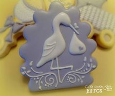 stork cookie Iced Cookies, Fox Cookies, Cute Cookies, Baby Girl Cookies, Sugar Cookies, Baby Shower Cookies, Baby Shower Cookie Cutters, Cookie Designs, Sugar Cookie Frosting