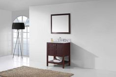 Virtu USA - ES-30030-WMRO-CH - Winterfell 30 in. Bathroom Vanity Set side top 30 Inch Bathroom Vanity, Bathroom Vanities, Bathroom Accessories Luxury, 30 And Single, Vanity Set, Luxury Living, Mosaic Glass, Furniture, Usa