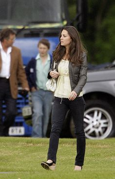 Kate wore skinny jeans and a leather jacket to a charity Polo match in which Prince William and Harry were playing. via StyleList