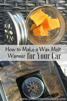 DIY Car Accessories and Ideas for Cars - Make a Wax Melt Warmer for Your Car - Interior and Exterior, Seats, Mirror, Seat Covers, Stora. Baby Food Jar Crafts, Baby Food Jars, Car Cleaning Hacks, Car Hacks, Car Life Hacks, Cool Diy, Diy Wax Melts, Wax Burner, Car Essentials