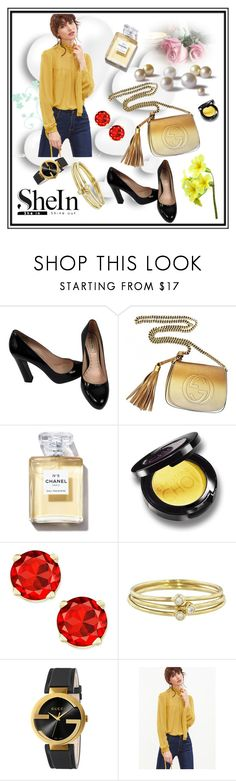 """""""#Yellow Top from Shein"""" by edin-levic ❤ liked on Polyvore featuring Valentino, Miu Miu, Gucci and Jennifer Meyer Jewelry"""