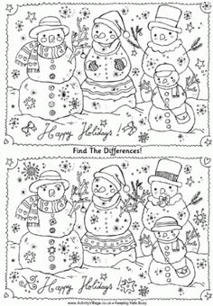 Find the differences family of snowmen puzzle free printable. LOTS of other activity choices as well! Find the differences family of snowmen puzzle free printable. LOTS of other activity choices as well! Holiday Games, Christmas Party Games, Holiday Fun, Winter Activities, Christmas Activities, Christmas Crafts, Fun Activities, Christmas Worksheets, Christmas Printables