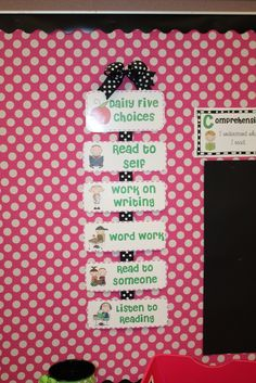 Adorable display of Daily 5 Categories!