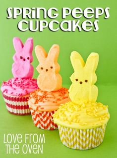 Make a batch of Peeps cupcakes. | 31 Things You Can Do With Peeps That Will Blow Your Kids' Minds