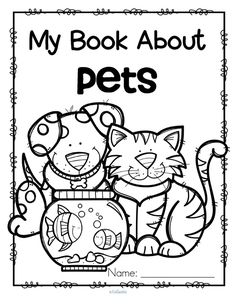 Set of 12 activity pages about pets for early learners.