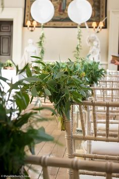 Aisle flowers and ceremony room designs by Bristol florists, The Wilde Bunch at Elmore Court Aisle Flowers, Wedding Flowers, Elmore Court, Florists, Bristol, Wedding Designs, Wreaths, Weddings, Table Decorations