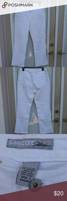 Beautiful white Authentic Chico's Platinum Jeans Chico's jeans size 1 short. Gently worn - excellent condition. No wear or tear. Great for the summer. Very comfortable. Zip fly with Chico's Platinum button closure. Comes from a smoke free home. Chico's Pants