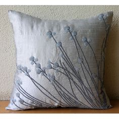 Designer Light Grey Throw Pillows Cover 16x16 by TheHomeCentric