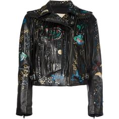 Valentino 'Astro Couture' biker jacket (12,344 CAD) ❤ liked on Polyvore featuring outerwear, jackets, black, valentino jacket, fringe leather jacket, biker jacket, fringe motorcycle jacket and moto jacket