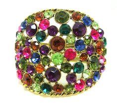 Jewel-toned mixed rhinestone cuff
