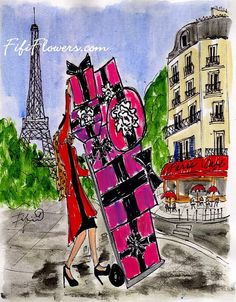 Fashionable Shopper in Paris by Fifi Flowers on Etsy