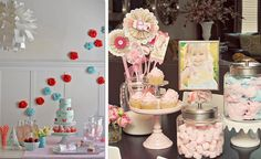 Pink and Blue Strawberry Birthday - This party is a particularly sweet combination of child-like details and grown up sophistication that I think would be perfect for a really playful wedding or a great baby or bridal shower.