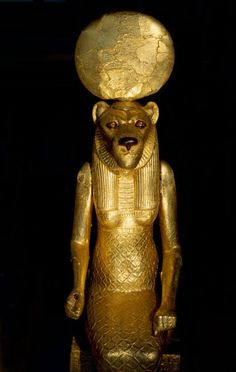 Seated figure of Sekhmet from the tomb of Tutankhamun Depicted as a woman with the head of a lioness, the goddess was daughter to Ra, wife to Ptah and mother to Nefertem As a lioness she takes the...