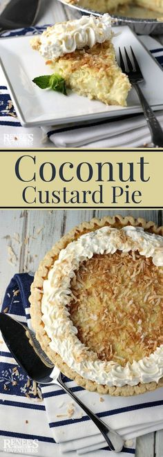 Coconut Custard Pie is a delicious dessert anytime of the year! But, toasted coconut in an easy-to-make custard makes me think Spring! Brownie Desserts, Oreo Dessert, Mini Desserts, Easy Desserts, Delicious Desserts, Yummy Food, Dessert Recipes, Healthy Desserts, Tropical Desserts