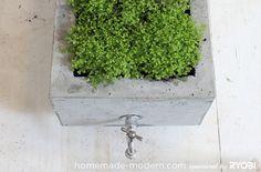 DIY: Stoere betonnen plantenbak op wielen - Roomed