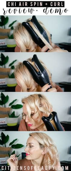 Chi Air Spin n Curl is a fast and easy way to curl your hair without fear of burning your fingers. Get gorgeous curls that last with this smart hair tool. Curling Wand Tips, Curling Hair With Wand, Curling Wand Tutorial, Curled Hairstyles, Diy Hairstyles, Wedding Hairstyles, Medium Hair Styles, Short Hair Styles, Chi Hair Products