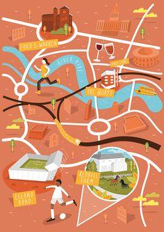 Carte illustrée de Leeds, dans la région du Yorkshire et Humber, en Grande Bretagne. atypika.ca