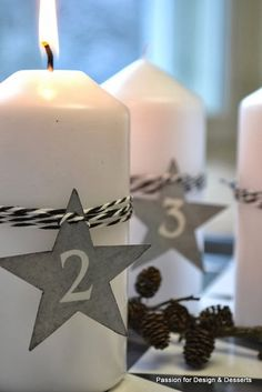 Monochrome paper and twine dress up the pure white candles in this set of minimalist Advent candles. White Candles, Pillar Candles, Advent Candles, Pure White, Traditional Design, Natural Materials, Twine, Monochrome, Minimalist
