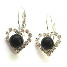 """Earrings is made of light metal with shungite stone - """"Heart""""."""