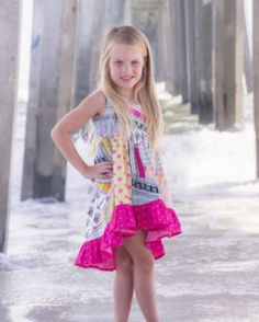 Patricia's Boho High Low Top and Dress Dramatic bohemian spring summer fall scoop back girls dress top tunic sizes 2t-12 bell sleeves cap sleeves long sleeves tank top woven cotton rayon knit fabric beginner easy PDF sewing pattern Simple Life Pattern Company #SLPco #SLPcoPatricia style fashion flowy beach fancy kids girls toddler