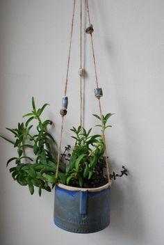 Large handmade ceramic hanging pot with by AtelierStellaLondon