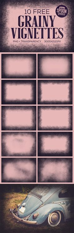 10 Free Grainy Vignette Textures with PNG Transparency
