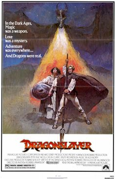 Dragonslayer , starring Peter MacNicol, Caitlin Clarke, Ralph Richardson, John Hallam. A young wizarding apprentice is sent to kill a dragon which has been devouring girls from a nearby kingdom. #Action #Adventure #Fantasy