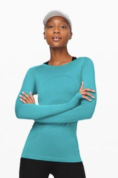 Designed with anti-stink, long-sleeve layer with running (and sweating) in mind. *this is an affiliate link Lululemon Shirts, Yoga Wear, Athletic Wear, Workout Wear, Athletes, Best Sellers, Casual Wear, Running, Clothes For Women