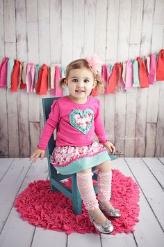Girl's Valentine's Day Outfit- Heart Applique Shirt and Matching Sweetheart Twirl Skirt- From Mellon Monkeys- ships in 2-3 days. $30.00, via Etsy.