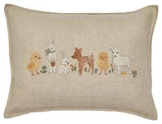 Spring Babies Pillow | Coral & Tusk Baby Pillows, Throw Pillows, Baby Chicks, Blooming Flowers, Nursery, Pillow Covers, Bunny, Spring, Babies