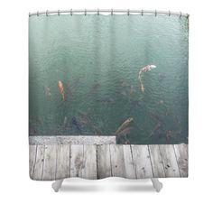 Wooden Bridge, Koi Shower Curtain by Witsarut Ditpae