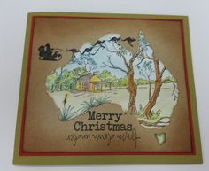 Stamp-It Australia: Kangaroo Sleigh 4919D, siset111 Outback House, Christmas Down Under 3935D. Card by Susan of Art Attic Studio