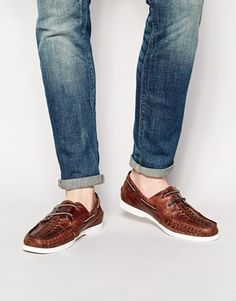 ASOS Boat Shoes in Woven Leather
