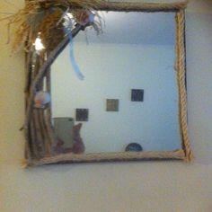 Καθρέφτης σε κόντρα πλακέ θαλάσσης στολισμένος με χρωματιστές πέτρες κοχύλια και ξύλα .Μικρή λεπτομέρεια  η ξύλινη θέση για 2 ρεσω Under Construction, Mirror, Instagram, Home Decor, Decoration Home, Room Decor, Mirrors, Home Interior Design, Home Decoration