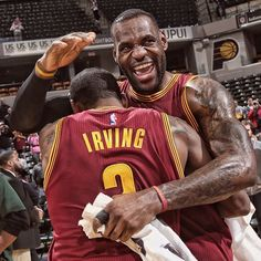 #LeBronJames and #KyrieIrving celebrate the first #Cavs win at Indy since 2010.