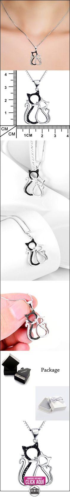 Silver Mountain En blanco y negro Gatos dobles Colgante Collar de las mujeres  ✿ Joyas para mujer - Las mejores ofertas ✿ ▬► Ver oferta: http://comprar.io/goto/B01HO5QEFI