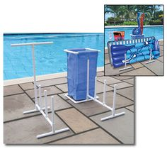 Pool Side Organizer With Hampers for Swimming Pool Floats and Water Toys 723815089038 Pool Toy Organization, Pool Toy Storage, Pool Float Storage, Backyard Storage, Organization Ideas, Towel Rack Pool, Pool Towels, Towel Hanger, Towel Racks