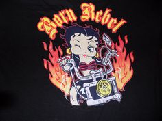 Betty Boop Licensed Born Rebel Biker T Shirt Size XL Black #BettyBoop…