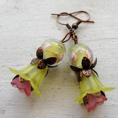Yellow Lily Pink Tulip Lampwork Vintage Copper by MystiqueCat, $16.99