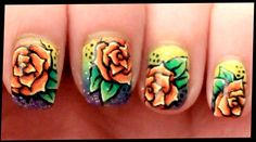 Orange Roses on Sparkling Rainbow nail art