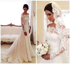 Elegant-Lace-Long-Sleeve-Wedding-Dress-White-Ivory-Off-The-Shoulder-Bridal-Gown