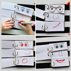 This DIY Funny Face Flip Book will keep the kids creatively entertained all afternoon. Great summer boredom buster kids activity and summer kids craft. Kids Crafts, Summer Crafts For Kids, Summer Activities For Kids, Summer Kids, Preschool Activities, Diy For Kids, Craft Kids, Summer Fresh, Flip Books