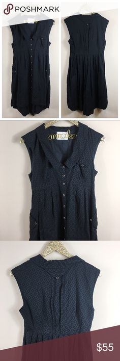 """Anthropologie Postmark Four Corners Black Dress Excellent condition, no noticeable flaws! Anthropologie Postmark Four Corners Black Dress. Adorable button-down high-low Hem shirtsdress in Eyelet material. Size 6. Length at shortest hem is 35""""/longest hem 40"""", bust is 34"""". No modeling/trades. Anthropologie Dresses High Low"""