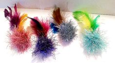 Feather Ball Cat Toys Set of 3, Optional Bell & Catnip, Hand Knit, Sparkly Cat Toys, Unique Cat Toys, Catnip Feathers by oddballcattoys on Etsy